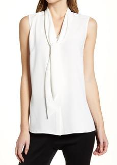 Women's Ming Wang Crepe Tie Neck Sleeveless Blouse