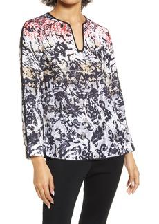 Women's Ming Wang Ombre Print Split Sleeve Popover Blouse