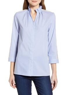 Women's Ming Wang Stripe Lace Inset Blouse