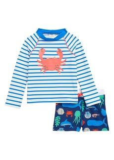 Mini Boden 2-Piece Rashguard Swim Set (Toddler Boys)