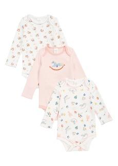 Mini Boden 3-Pack Organic Cotton Bodysuits (Baby Girls)