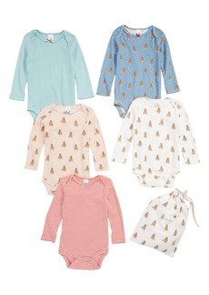 Mini Boden 5-Pack Print Bodysuits (Baby Girls)
