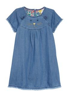 Mini Boden Animal Appliqué Denim Dress (Toddler Girls, Little Girls & Big Girls)