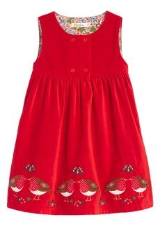 Mini Boden Animal Appliqué Sleeveless Velveteen Dress (Toddler Girls)