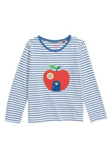 Mini Boden Apple Appliqué Stripe Tee (Toddler Girls)