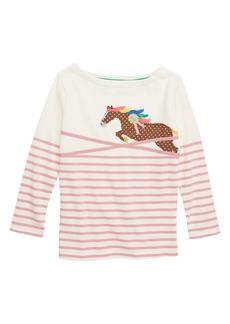 Mini Boden Appliqué Breton Stripe Tee (Toddler Girls, Little Girls & Big Girls)
