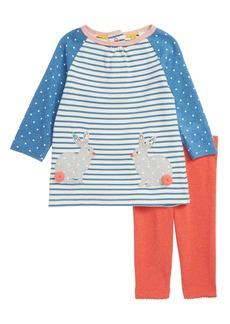 Mini Boden Appliqué Dress & Leggings Set (Baby Girls)