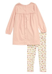 Mini Boden Appliqué Jersey Dress & Leggings Set (Toddler Girls)