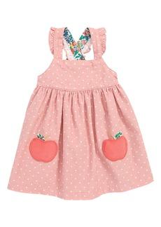 Mini Boden Appliqué Pinafore Dress (Baby Girls & Toddler Girls)