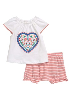 Mini Boden Appliqué T-Shirt & Stripe Shorts Set (Baby)