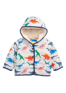 Mini Boden Babysaurus Water Resistant Quilted Puffer Coat (Baby & Toddler Boys)