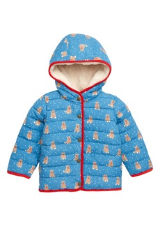 Mini Boden Babysaurus Water Resistant Quilted Puffer Coat (Baby & Toddler Girls)