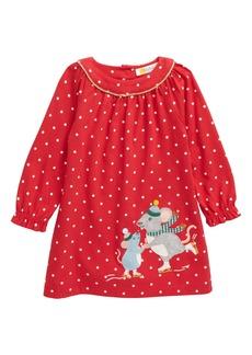 Mini Boden Big Appliqué Long Sleeve Jersey Dress (Baby)