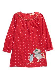 Mini Boden Big Appliqué Long Sleeve Jersey Dress (Toddler Girls)