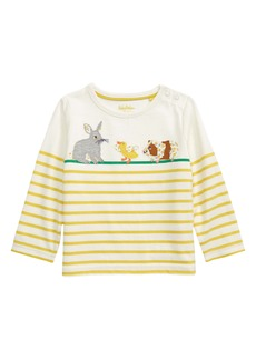 Mini Boden Breton Stripe Appliqué Long Sleeve T-Shirt (Baby)