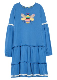 Mini Boden Bright Appliqué Long Sleeve Tiered Dress (Toddler Girls, Little Girls & Big Girls)