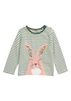 Mini Boden Bunny Appliqué Stripe Tee (Baby)