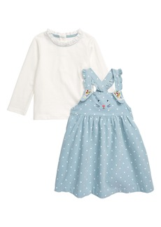 Mini Boden Bunny Corduroy Pinafore Dress & Tee Set (Baby)