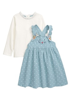 Mini Boden Bunny Corduroy Pinafore Dress & Tee Set (Toddler Girls)