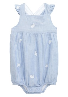 Mini Boden Bunny Embroidered Woven Bubble Romper (Baby)
