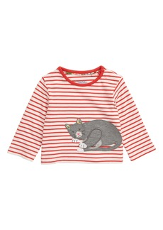 Mini Boden Cat Appliqué Stripe Tee (Baby)