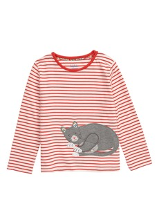 Mini Boden Cat Appliqué Stripe Tee (Toddler Girls)