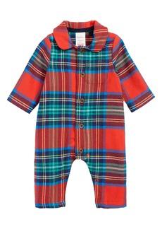 Mini Boden Checked Flannel Romper (Baby)
