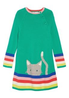 Mini Boden Cheeky Cat Intarsia Sweater Dress (Toddler Girls, Little Girls & Big Girls)