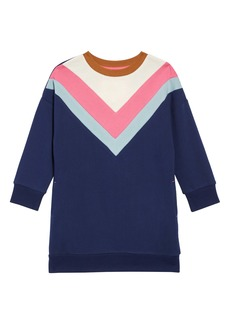 Mini Boden Chevron Jersey Sweatshirt Dress (Toddler Girls, Little Girls & Big Girls)