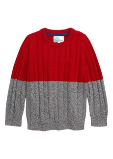 Mini Boden Colorblock Cable Knit Sweater (Toddler Boys, Little Boys & Big Boys)
