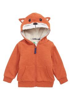 Mini Boden Critter Hood Plush Zip Sweatshirt (Baby Boys)