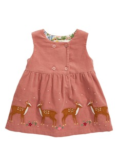 Mini Boden Deer Appliqué Corduroy Pinafore Dress (Baby)