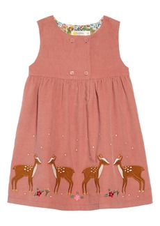 Mini Boden Deer Appliqué Corduroy Pinafore Dress (Toddler Girls)