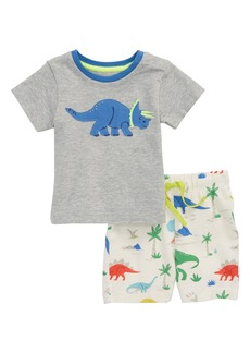 Mini Boden Dino Appliqué T-Shirt & Shorts Set (Baby Boys)