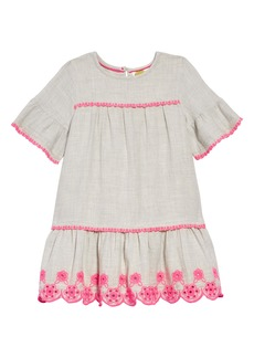 Mini Boden Drop Waist Embroidered Dress (Toddler Girls, Little Girls & Big Girls)