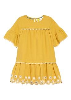 Mini Boden Drop Waist Embroidered Dress (Toddler Girls, Little Girls & Big Girls)