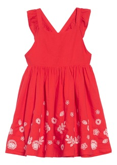 Mini Boden Embroidered Border Cross Back Dress (Toddler Girls, Little Girls & Big Girls)
