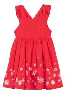 Mini Boden Embroidered Border Cross Back Dress (Toddler Girls, Little Girls & Big Girls)