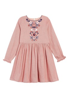 Mini Boden Embroidered Chambray Dress (Toddler Girls, Little Girls & Big Girls)