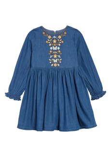 Mini Boden Embroidered Chambray Dress (Toddler Girls, Little Girls & Big Girls)