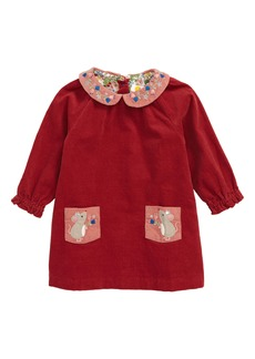 Mini Boden Embroidered Collar Long Sleeve Corduroy Dress (Baby)