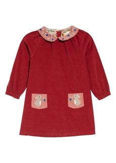 Mini Boden Embroidered Collar Long Sleeve Corduroy Dress (Toddler Girls)