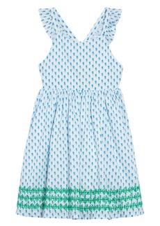 Mini Boden Embroidered Cross Back Dress (Toddler Girls, Little Girls & Big Girls)