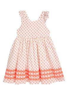 Mini Boden Embroidered Cross Back Dress (Toddler Girls, Little Girls & Big Girls)