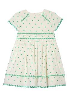Mini Boden Embroidered Dot Scalloped Dress (Toddler Girls, Little Girls & Big Girls)