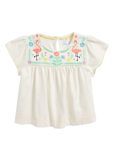 Mini Boden Embroidered Joke Top (Toddler Girls, Little Girls 7 Big Girls)