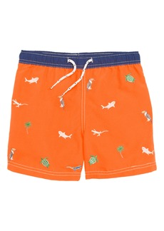 Mini Boden Embroidered Swim Trunks (Toddler Boys, Little Boys & Big Boys)