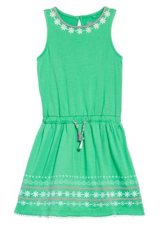 Mini Boden Embroidered Tie Waist Dress (Toddler Girls, Little Girls & Big Girls)