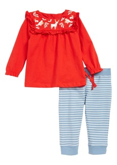 Mini Boden Embroidered Top & Print Leggings Set (Baby)