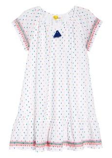Mini Boden Embroidered Trim Dress (Toddler Girls, Little Girls & Big GIrls)